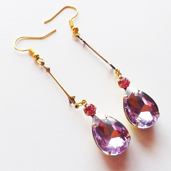 Lilac and pink glass gem earrings etsy cover 1