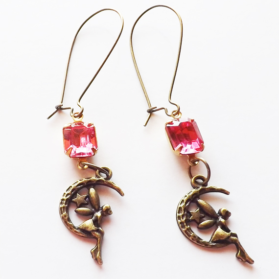 Rose pink fairy earrings etsy cover 2