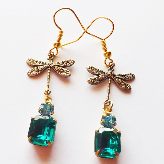 Sea Green glass gem dragonfly earrings etsy cover 1