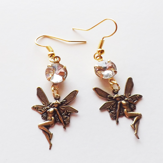 naked fairy and clear glass gems earrings etsy cover 1