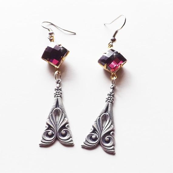 Amethyst Art Deco Earrings Etsy Cover 1