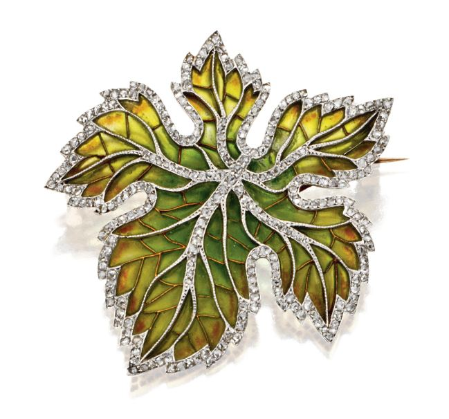 Art-Nouveau-Plique-à-Jour-Enamel-and-diamond-leaf-brooch-French-circa-1900-Sothebys