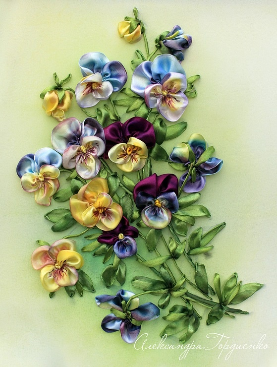 Picture of silk ribbon pansies
