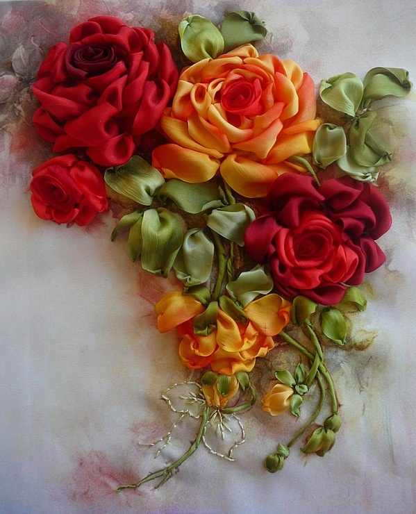 picture of orange and red silk ribbon roses