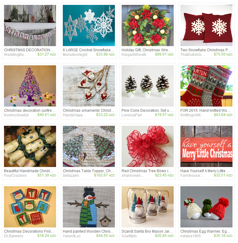 Pictures of Christmas decorations available on Etsy
