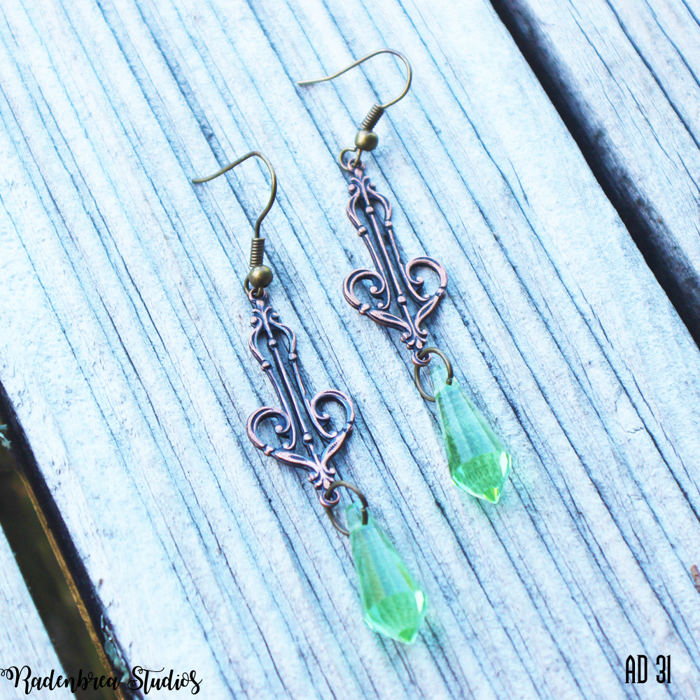 Copper Art Deco Earrings