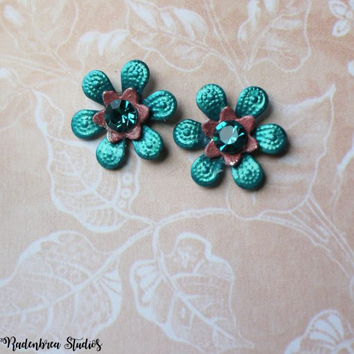 Blue blossom stud earrings