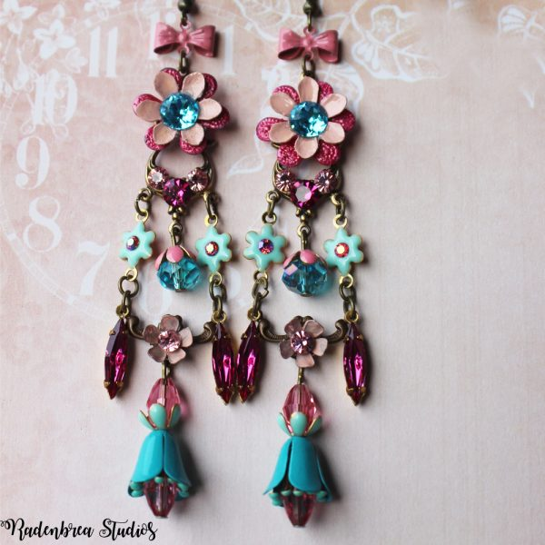 Pink blossom earrings