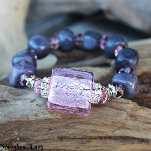 grey and pink beaded bracelet