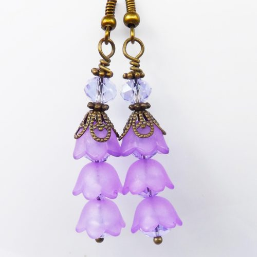 lilac bell flower earrings