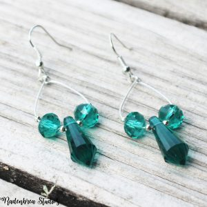 Sea Green & Crystal Earrings