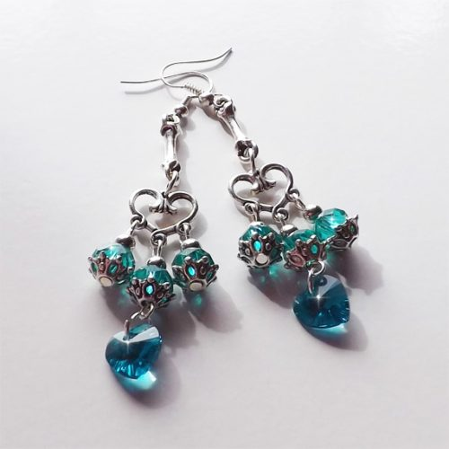 silver and teal heart earrings