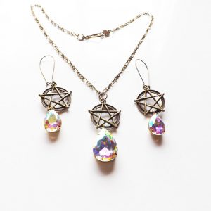 pentacle necklace and earring set