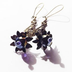 bronze floral earrings