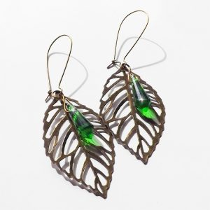 Bronze leaf earrings with Swarovski gems