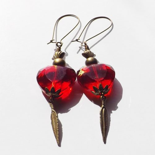 bronze red heart earrings