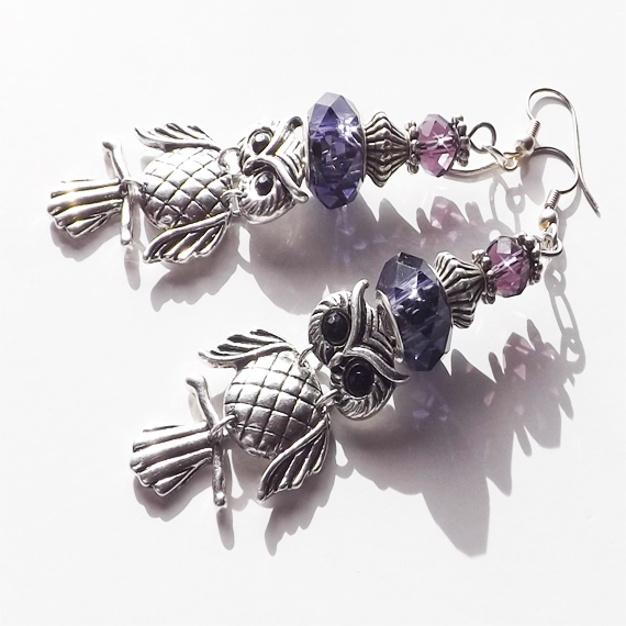 Owl and Purple earrings