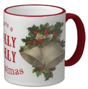 photo of a holly jolly christmas mug