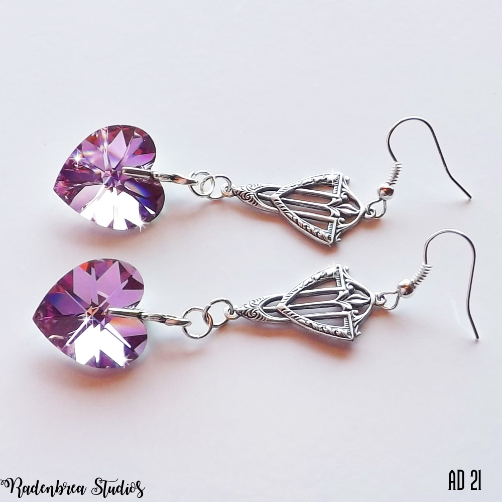 Silver and Pink Heart Art Deco Earrings