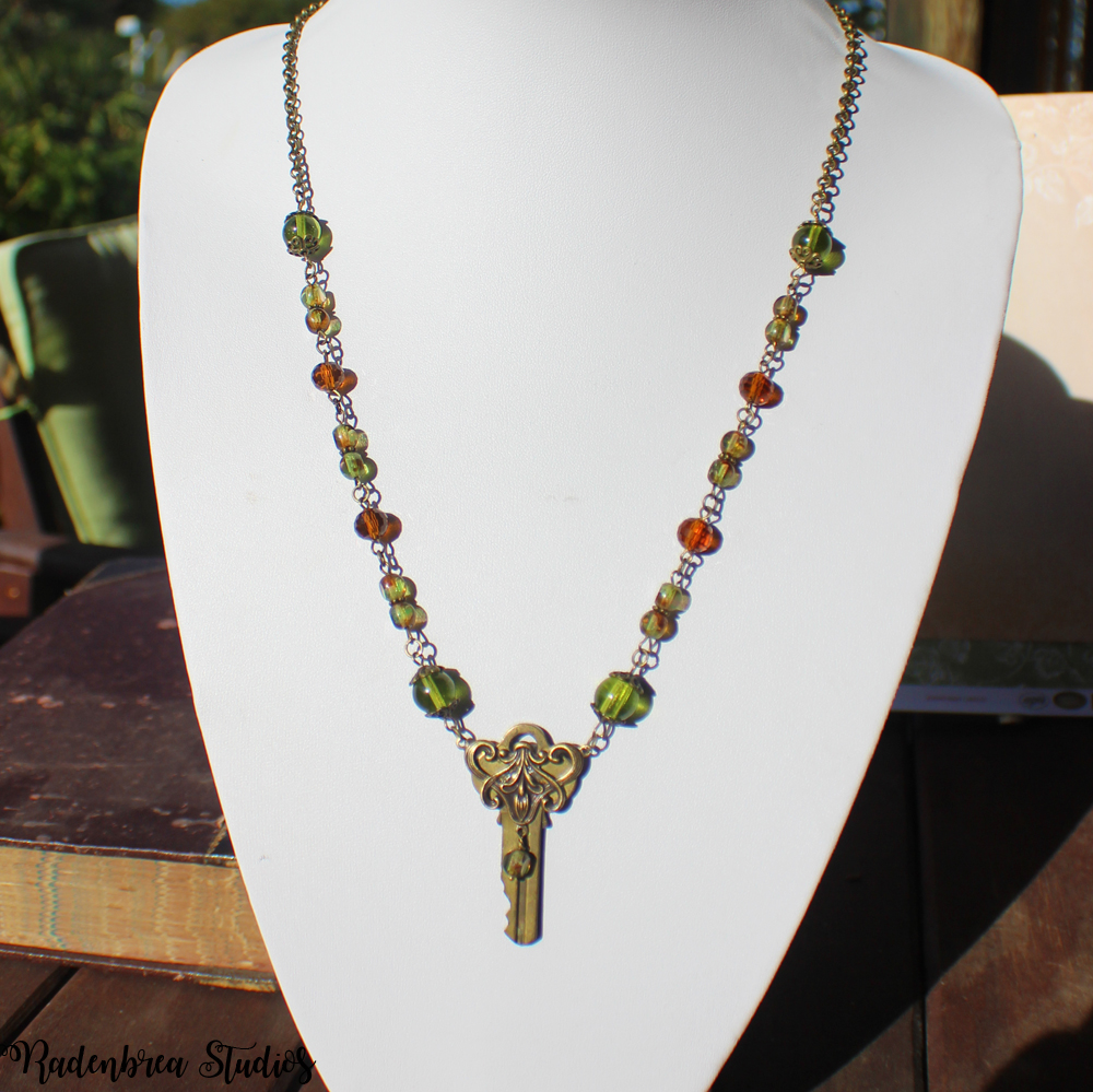 beaded chain & key necklace