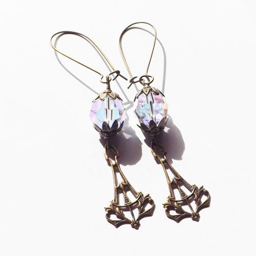 Crystal and bronze art deco earrings